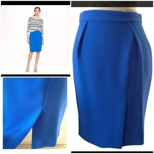 omen's Blue Petite Drapey Crepe Pencil Skirt